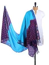 Blue-Purple Color Block  Silk Ikat Dupatta - Dupatta Bazaar