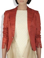 Brick Red Cotton Silk Draped Flare Jacket - By