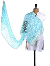 Sky Blue Embroidered Net Sheer Dupatta - Dupatta Bazaar