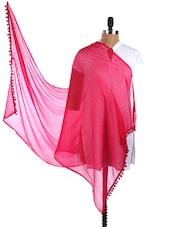 Pink Pom Pom Border Plain Sheer Chiffon Dupatta - Dupatta Bazaar