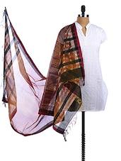 Black-Maroon Chanderi Silk Zari Dupatta - Dupatta Bazaar