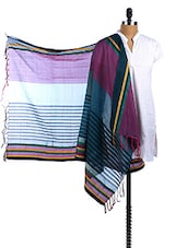 Multicolor Chanderi Silk Striped  Dupatta - Dupatta Bazaar
