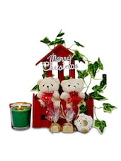 Set Of 2 Teddies, 1 Candle, 1 Snowball, 1 Home Decorative Item, 1 Merry Christmas Tag And Home Made Chocolates - By