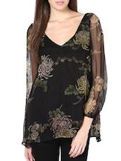 Black Floral Printed Chiffon Top - Palette