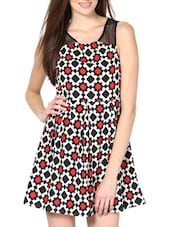 Red And Black  Printed Poly Crepe Dress - Palette