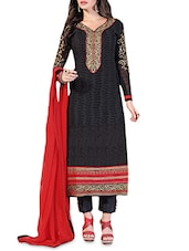 Black And Red Embroidered Semi Stitched Georgette Suit Set - By
