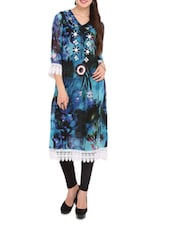 Blue And Black Printed Kurti With White Cotton Lace - Lubaba