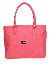 Solid Pink Faux Leather Handbag - By