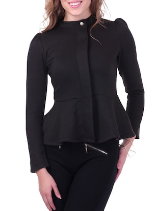 Knitted Cotton Fleece Turtle Neck Black Peplum Terry Jacket