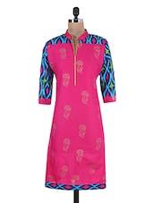 Fuchsia Pink And Blue Printed Cotton Kurta - By