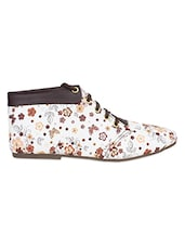 Brown And White Floral Print Boots - By