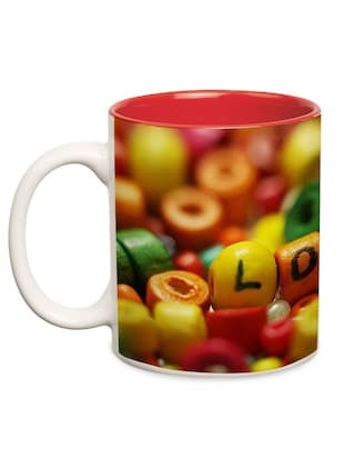 multicolored ceramic printed mug