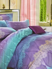 Gorgeous Purple And Blue Printed Bed Linen With Pillow Covers - Skap