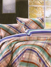 Smart Multicolored Checkered Print Bed Linen With Pillow Covers - Skap