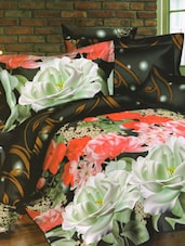 Amazing Black Floral Printed Bed Linen With Pillow Covers - Skap