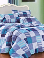 Amazing Blue Bed Linen With Pillow Covers With Checkered Print - Skap