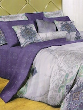 Gorgeous Purple And Grey Printed Bed Linen With Pillow Covers - Skap