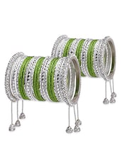 White And Green Embellished Bangles Set - By