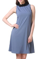 Stone Blue Sleeveless Dress With Frilled Neckline - By