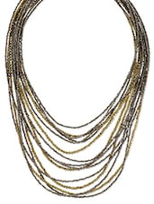 Gold And Silver Beaded Multi Strands Necklace - By