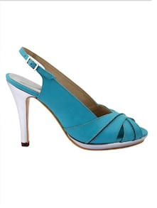 Blue Faux Leather High Heel Sandals - Charu Diva