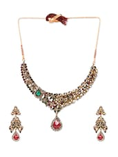 Multicolored Crystals Embellished Jewellery Set - By