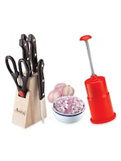 Kitchen Combo Of Onion Chopper & Knife Block Set - 13 - Amiraj