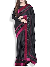 Black Satin Saree With Velvet And Sequined Border - By