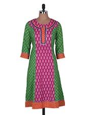 Pink And Green Printed Cotton Kurta - Prakhya
