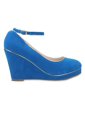 Royal Blue Leatherette Ankle Strap Wedges - By