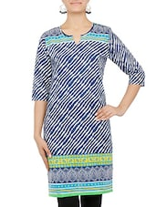 Blue And White Stripped Printed Cotton Kurti - By
