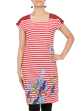 Red And White Printed Short Sleeved Cotton Kurti - By