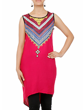 Red Printed High Low Cotton Kurti - By