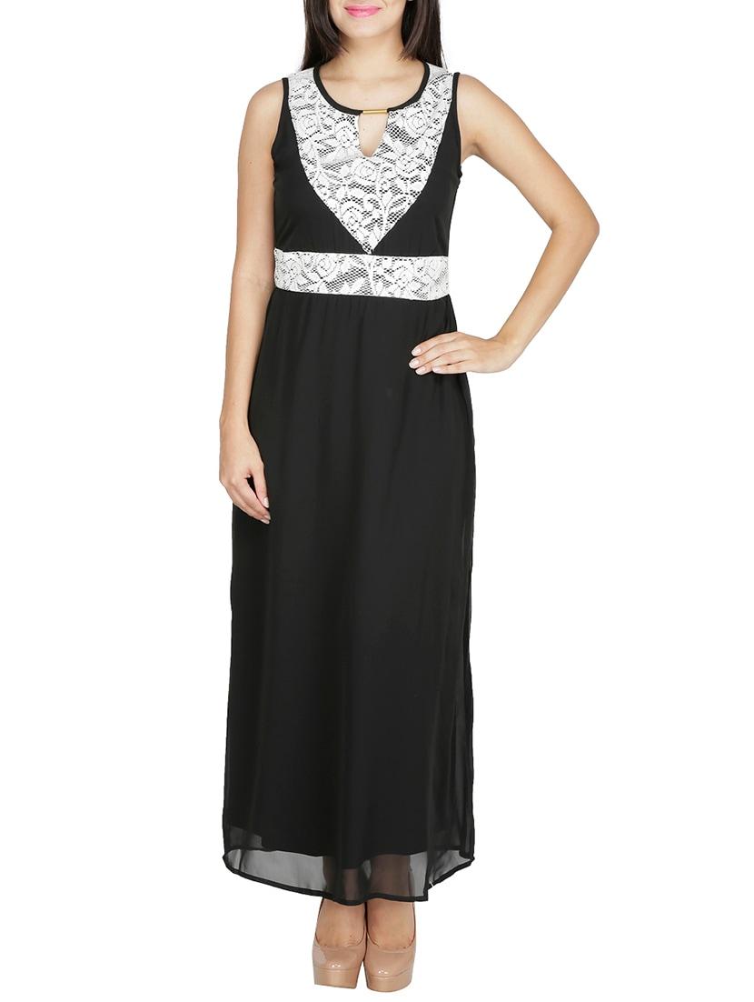 Black Laced Georgette Dress - By