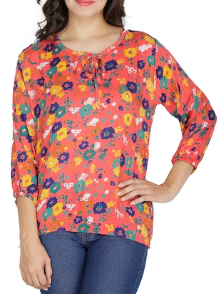 Orange floral printed rayon top