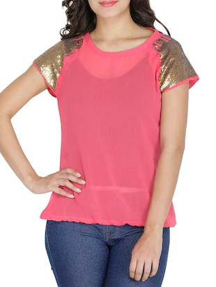 Pink georgette gold short sleeved top