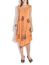 Peach Cap Sleeved Rayon Dress - By