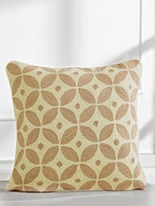 Beige And Light Brown Printed Cotton Cushion Cover - By