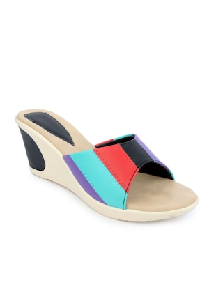 Multicolored leatherette wedge