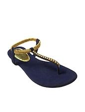 Blue Faux Leather T Straps Sandal - By