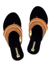 Bronze Faux Leather Slip On Sandals - By