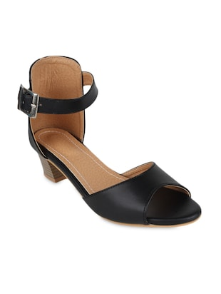 black buckled leatherette block heel sandals