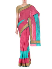 Strawberry Pink Art Silk And Zari Saree - By