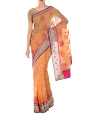 Light Orange Cotton Art Silk And Zari Saree - By