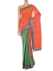 Orange And Green Jacquard Art Silk Saree - By
