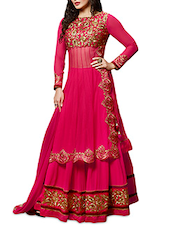 Pink Embroidered Lehenga Style Unstitched Suit Set - By