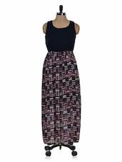 Black Printed Maxi Dress - 399