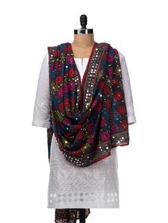 Grey Hand Embroidered Dupatta - Vayana