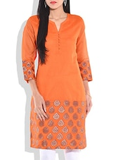 Orange Chanderi Silk Kurti - By