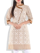 Off-white And Gold Chanderi Silk Kurti - By